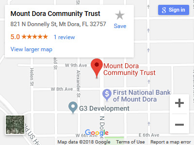 Google Map to Mount Dora Community Trust location
