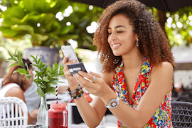 Woman banking on smartphone