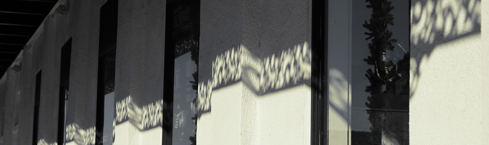 building with an interesting shadow from ornamental ironwork