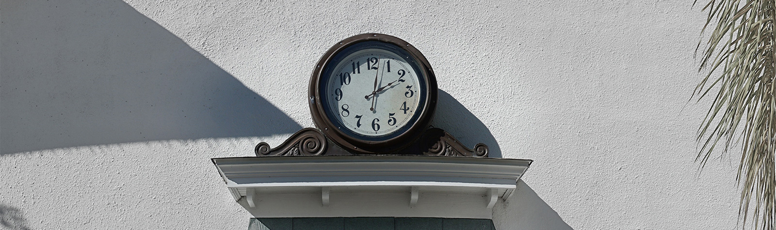 clock above a lintel piece